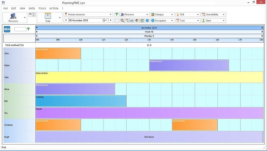 week hourly schedule
