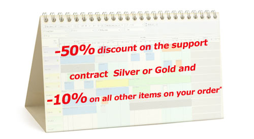 50% discount on the support contract  Silver  or  Gold  and 10% on all other items on your order