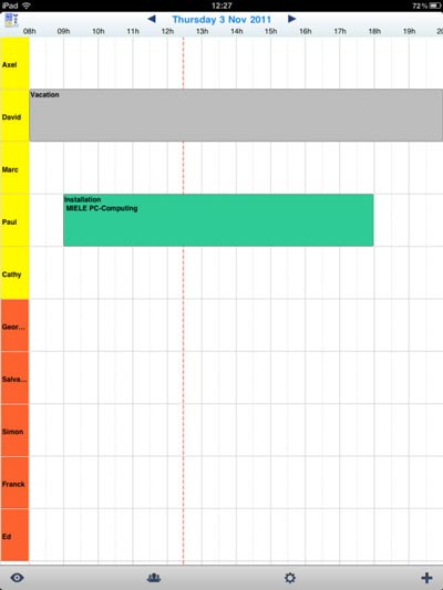 daily schedule in PlanningPME Mobile