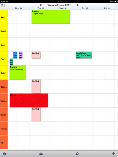 weekly schedule in PlanningPME Mobile