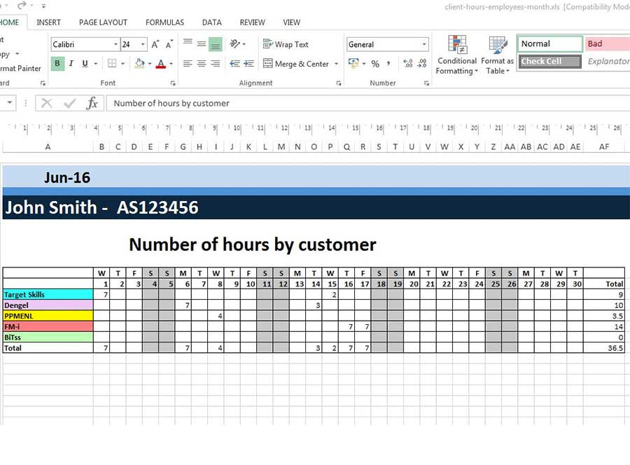 Excel board by customer