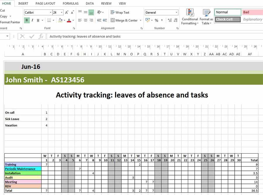 Monthly schedule of absences and leaves in Excel