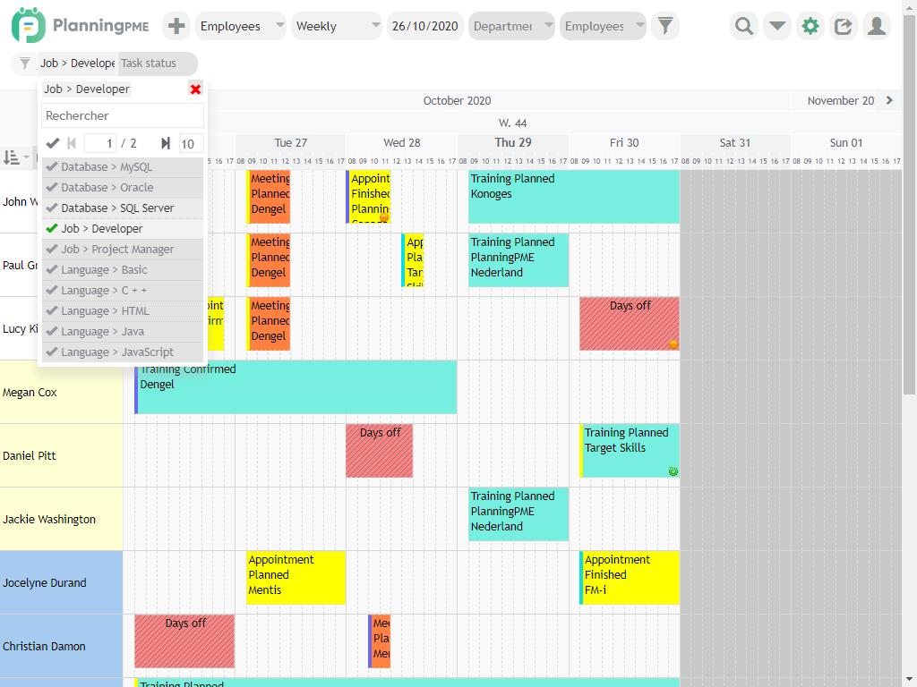 Scheduling filters